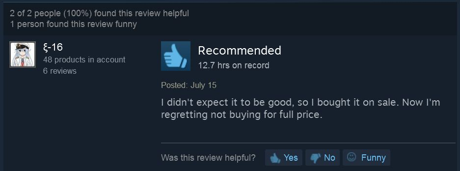 "You don't get much more glowing a review than ""I wish I paid more money for it."""